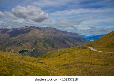 View to Lindis Pass from Cluden Hill Sumit, New Zealand