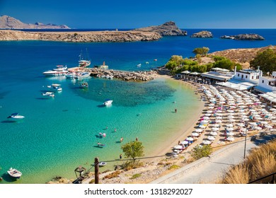 view of the Lindos bay and the beach, Rhodes, Greece