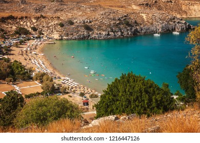 View of Lindos bay and village. Rhodes, Greece.