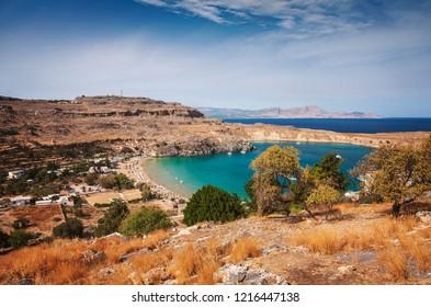 View of Lindos bay village. Rhodes, Greece.