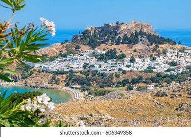View of Lindos town and Acropolis. Rhodes Dodecanese Islands, Greece, Europe