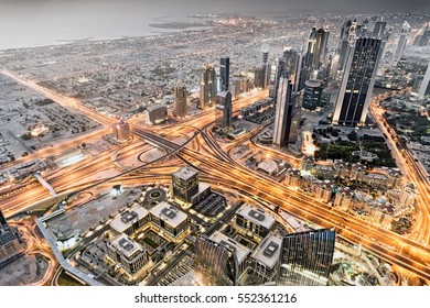 View of lines of traffic from the top of the Burj Khalifa, Dubai, UAE