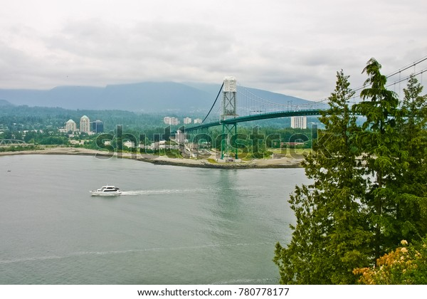 view of lion gate bridge from stanley park vancouver canada