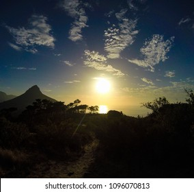 View of Lion's Head, slightly right of Table Mountain, from Signal Hill, Western Cape, South Africa