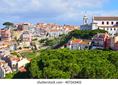 View from Lisbon Castle in the summer, Portugal