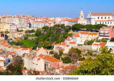 view of Lisbon city from Castelo de Sao Jorge, Portugal