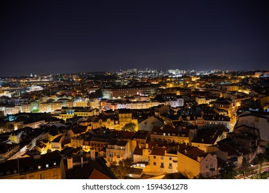 View of Lisbon at night. Portugal