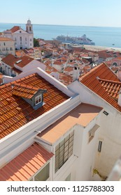 View of Lisbon from the observation deck. A view of the roofs of the houses from a bird's-eye view. Lisabon. Portugal.
