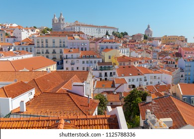 View of Lisbon from the observation point. A view to the houses roofs from a bird's-eye view. Lisabon. Portugal.
