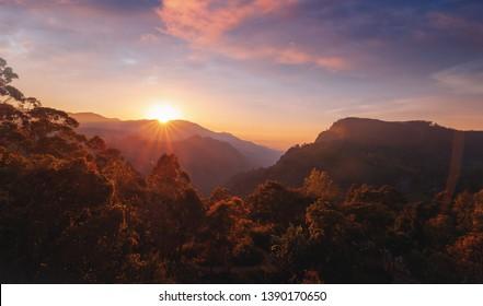 View of Little Adam's Peak at sunset. Mountain landscape in Sri Lanka