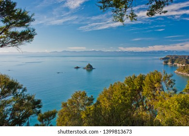 View of little island from Abel Tasman Track in New Zealand