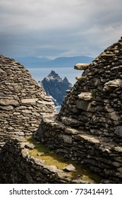 view to the Little skellig from the monastery on skellig michael