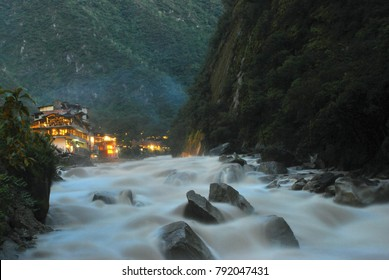 View of the little town of Aguas Calientes in Machu Picchu, Peru