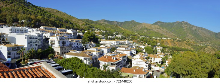 View of little village with green landscape the hill in Mijas, Spain