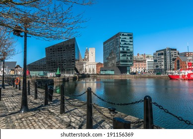 A view of Liverpool's modern buildings on Mann Island from the Albert Dock.