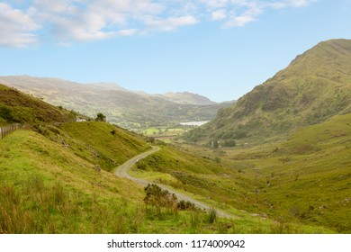 View of LLanberis pass in Snowdonia National Park in North Wales UK