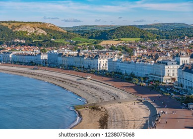 View of Llandudno seaside town and beach in North Wales