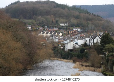 A view of Llangollen downstream from the bridge in the centre of the Welsh town.