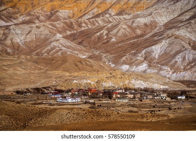 View of Lo Manthang, Mustang capital, from the path from Chogo La