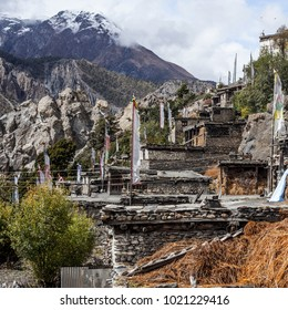 View of local stony building in Manang village one of the best villages in round Annapurna circuit trekking trail route, Nepal