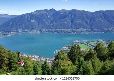 View of Locarno and Lake Maggiore from the Cardada-Cimetta mountain range. Ticino canton, Switzerland