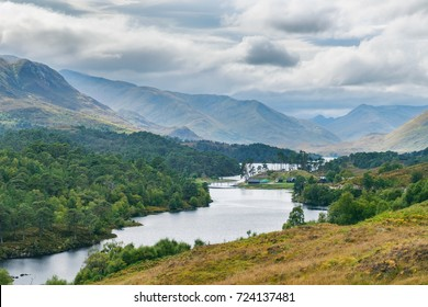 view of Loch Affric with the ancient Caledonian Pine Forest. Glen Affric National Nature Reserve, Scotland, UK