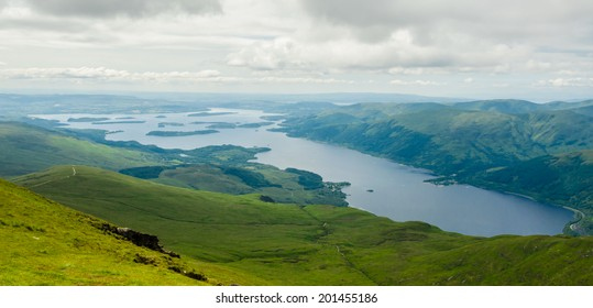 View of Loch Lomond from the top of Ben Lomond in a sunny  day. Scotland (UK).