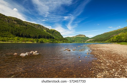 View of Loch Lubnaig and Ben Ledi near Callandar in Perthshire Scotland, Typical scotish landscape in summer. Scotland. UK