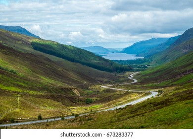 View of Loch Maree from Glen Docherty. Part of the North Coast 500 scenic route around the north coast of Scotland.
