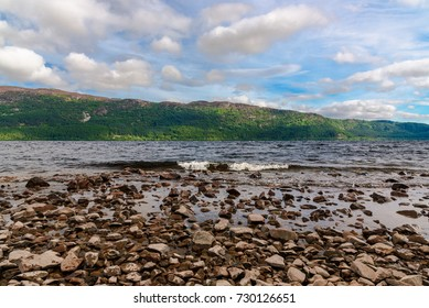 View of Loch Ness from the bottom of Urquhart Castle in Scotland.