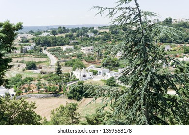 View from Locorotondo, Italy - 14 July 2018 - The gorgeous white town in province of Bari, chosen among the top 10 most beautiful villages in Southern Italy