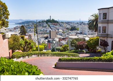 View of Lombard street, cityscape, San Francisco