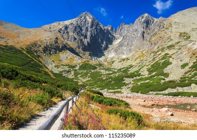 View of Lomnica peak from mountain valley, High Tatras, Slovakia