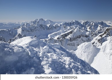 View from Lomnicky stit - peak in High Tatras mountains (2634 m), Slovakia