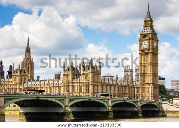 view of London with the Big Ben, the clock tower, and Westminster