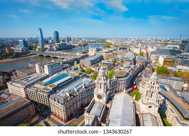 View of London cityscape from the Golden Gallery of St. Paul's Cathedral