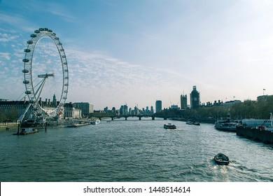View of the London Eye. London, England. April 6, 2019