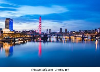 View of London panorama from Waterloo Bridge at sunrise in London , England