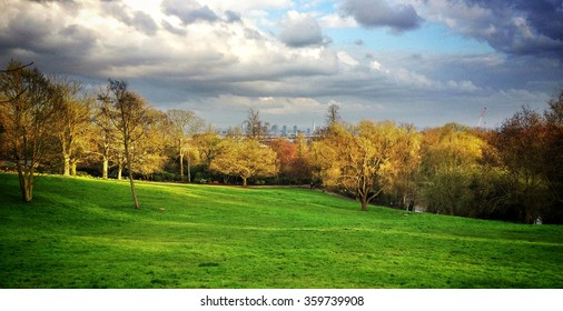 View of London skyline from park in highgate, London, UK