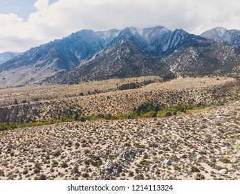 View of Lone Pine Peak, east side of the Sierra Nevada range, the town of Lone Pine, California, Inyo County, United States of America, John Muir Wilderness, Inyo National Forest, shot from drone