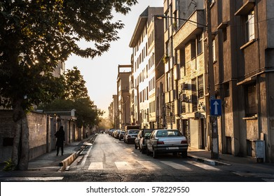 View of the lonely street in the morning with sunlight and shadow,Tehran city Iran.