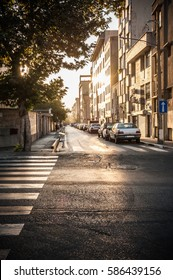 View of the lonely street in the morning with sunlight and shadow,Tehran Iran.
