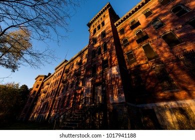 "A view of the long abandoned Jackson Sanatorium, the so-called ""Castle on the Hill,"" viewed in the late evening near Dansville, New York."