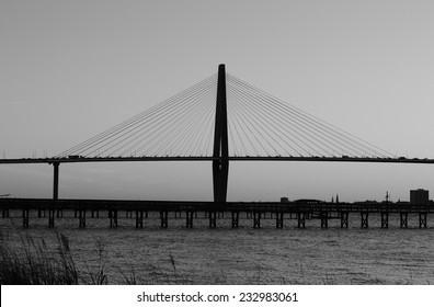 View of a long bridge in black and white, Charleston Arthur Ravenel Jr. Bridge