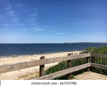 A view of Long Island Sound from a deck overlooking the beach at Caumsett State Park in Lloyd Harbor, NY.