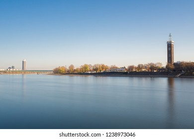 View of the long River Rhine in Autumn  in Cologne Germany 2018