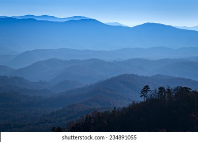 View from Look Rock, Waves of misty mountains, Great Smoky Mountains National Park
