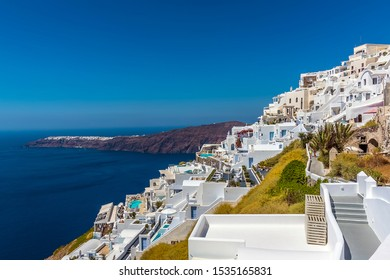 A view looking across the village of Imerovigli, Santorini in summertime
