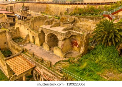 A view looking down into the northern end of the well preserved Roman settlement of Herculaneum, Italy