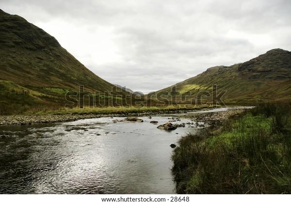 View looking up Inverlochlarig Glen near Balquidder, Scotland
